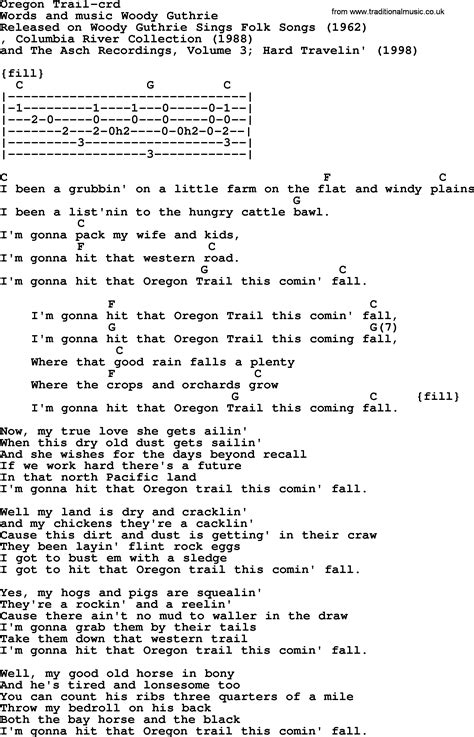 Woody Guthrie song - Oregon Trail, lyrics and chords