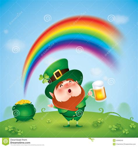 Leprechaun With Pot Of Gold At The End Of Rainbow Stock
