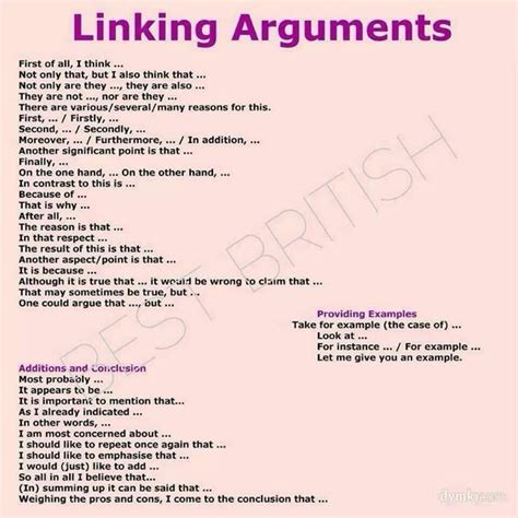 Linking Arguments In English - English Learn Site