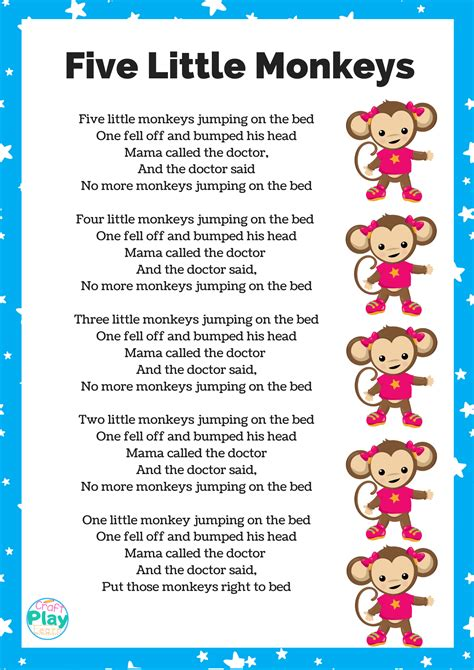 Five Little Monkeys Printable And Activity Ideas - Craft