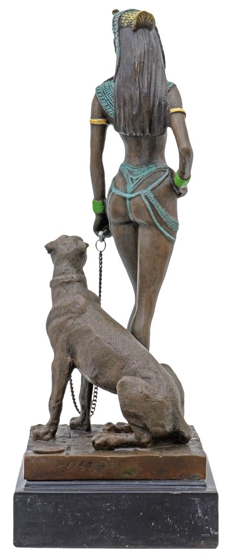 A bronze sculpture of Cleopatra with panther 26cm | Aubaho
