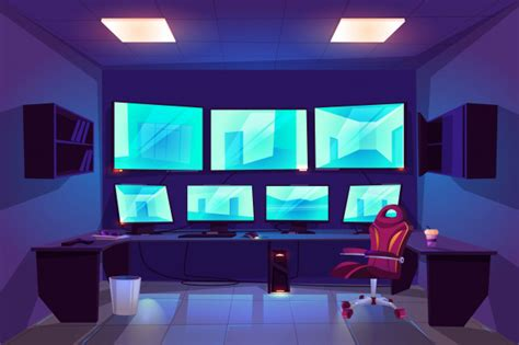 Security control cctv room interior with multiple monitors