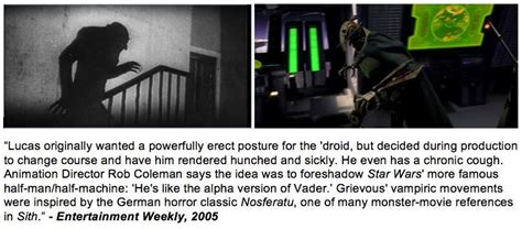 General Grievous's walk was inspired by the vampire