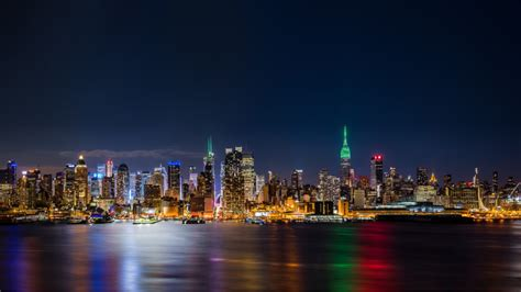 New York City Empire State Building Panorama By Night